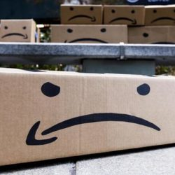 epa07371930 (FILE) - Boxes with a reimagined Amazon logo during a protest against Amazon's plans to open new company headquarters in New York, New York, USA, 30 November 2018 (reissued 15 February 2019). According to news reports, the online retailing giant has scrapped plans to build new company headquarters in New York after facing political backlash over initially agreed incentives worth some 3 billion US dollars (about 2.66 billion Euros).  EPA/JUSTIN LANE